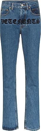 VETEMENTS Calça jeans reta Gothic Magic com logo - Azul