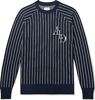 Aimé Leon Dore Logo-intarsia Striped Cotton Sweater - Navy