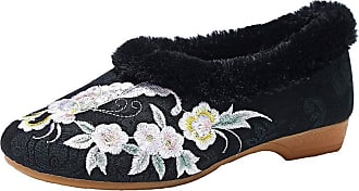 ICEGREY Womens Faux Fur Lined Chinese Embroidered Shoes Winter Slip On Loafer Black-2 5.5