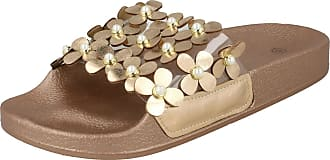 Spot On Ladies Flower Trim Sliders F00089 - Champagne Synthetic - UK Size 8 - EU Size 41 - US Size 10