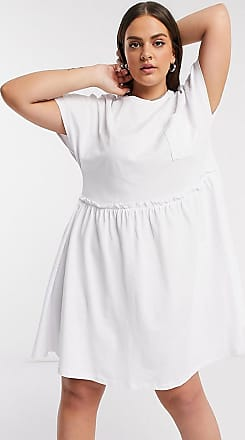 Noisy May mini t-shirt dress with pocket detail in white