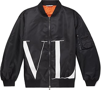 Valentino Oversized Logo-print Shell Bomber Jacket - Navy