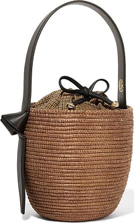 Cesta Collective Lunchpail Leather-trimmed Woven Sisal Bucket Bag - Brown