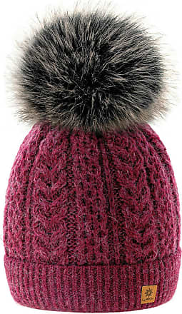 4sold Women Ladies Chunky Soft Cable Knit Hat Natural Mohair Wool with Cosy Fleece Liner and Handmade Faux Fur Pompom (Atena Burgund)