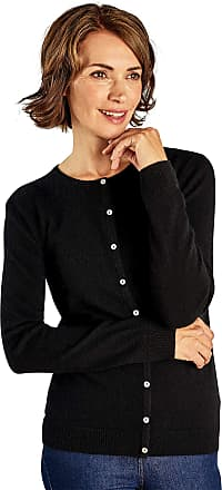 WoolOvers Womens New Cashmere Crew Neck Knitted Cardigan Black, M