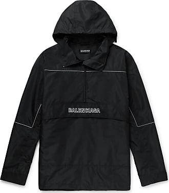 Balenciaga Oversized Logo-embroidered Ripstop Half-zip Hooded Jacket - Black