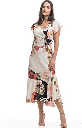 Clara Arruda Vestido Clara Arruda Longo Botões Laterais 50450-40 - Floral Branco