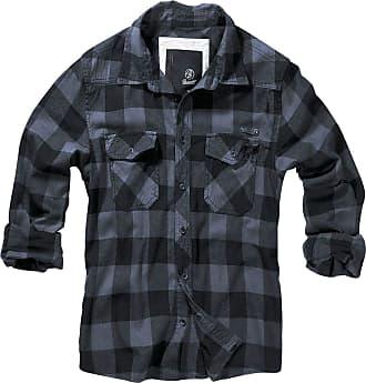 Brandit Checkshirt Men Flanel Shirt Black-Grey S, 100% Cotton, Labelpatch Regular