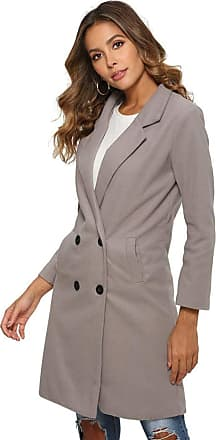 YYW Winter Classic Slim Long Jacket Wool Coats for Women Double Breasted Trench Coat (Gray,XL)