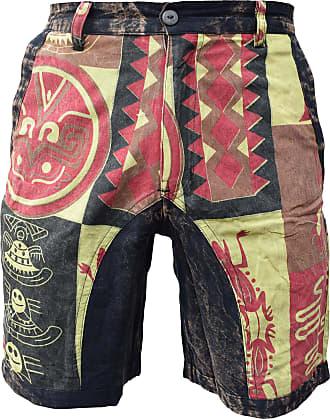 Gheri Mens Hemp Cotton Ethnic Printed Shorts Pockets Single Button and Zip