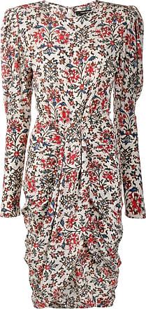 Isabel Marant Drapiertes Kleid mit Blumen-Print - Rot