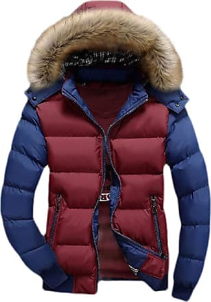 H&E Mens Big & Tall Faux Fur Hooded Color Block Quilted Down Jacket Parka Coat Red Blue XL