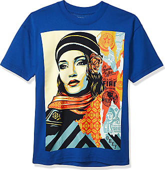 Obey Mens FIRE Sale SS Recycled Organic TEE T-Shirt, Royal Blue, Large