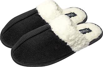 TOSKATOK Unisex Ladies Womens Mens Warm Winter Faux Suede Soft Sherpa Fleece Sheepskin Fur Lined Slip on Mules slippers-BLK-7/8 Black