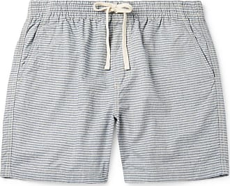 J.crew Dock Striped Cotton-chambray Drawstring Shorts - Light blue