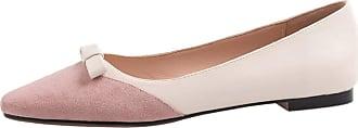Mediffen SUCREVEN Women Casual Flat Pumps Bowknot Pointed Toe Court Shoes Comfort Slip On Ballet Shoes Pink Size 7.5 UK/42