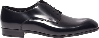 Doucal's Dark Blue Polished Leather Derby Shoes, 41.5
