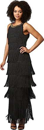 Roman Originals Women Sequin Round Neckband Fringe Maxi Dress - Ladies Evening Special Occasion Party Diamate Embellished Sleeveless Flapper Long Full Length Ball Gow