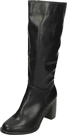 Spot On Ladies Knee High Heeled Boots - Black Synthetic - UK Size 8 - EU Size 41 - US Size 10