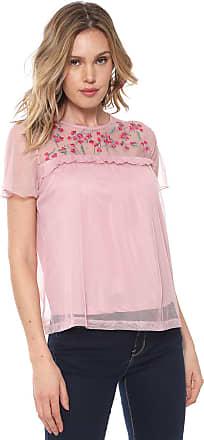 Vero Moda Blusa Vero Moda Tule Bordada Rosa