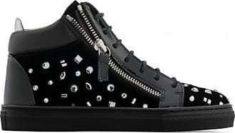 Giuseppe Zanotti Black velvet mid-top sneaker with crystals THE DAZZLING JUNIOR