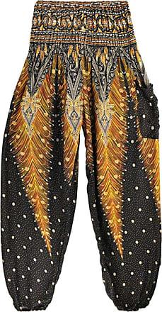 junkai Unisex Yoga Boho Hippy Pants Thai Peacock Print Floral Pattern Harem Trousers Smock High Waist Bloomers Black