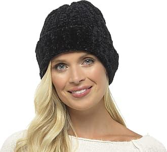 Foxbury Ladies Soft Chenille Knitted Hat Black