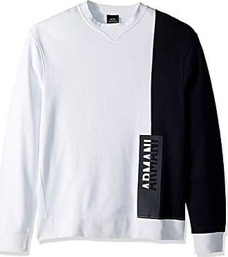 A|X Armani Exchange Mens Long-Sleeve Crew Neck Sweatshirt, White/Navy, XL