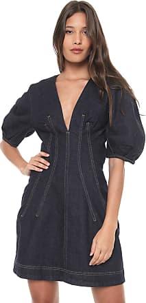91a15be62 Colcci Vestido Jeans Colcci Curto Pespontos Azul-marinho