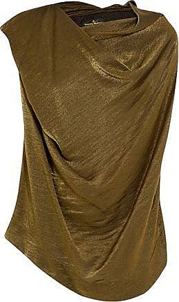 Vivienne Westwood Vivienne Westwood Anglomania Woman Draped Metallic Satin-crepe Top Army Green Size 42