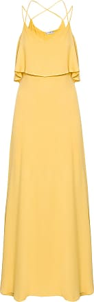 Market 33 Vestido Longo Com Alça Cruzada - Amarelo