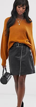 Y.A.S. Tall belted leather skirt-Black
