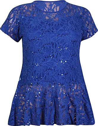 Purple Hanger Womens Floral Lace Ladies Stretch Short Sleeve Lined Sequin Peplum Swing T-Shirt Top Plus Size Royal Blue 14