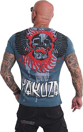Yakuza Mens Burning Skull T-Shirt - Blue - XXXX-Large