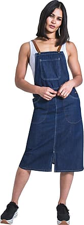 Uskees Midi Denim Dungaree Dress - fastens with Braces Pinafore Bib Front Split SKYLARBRACES-16