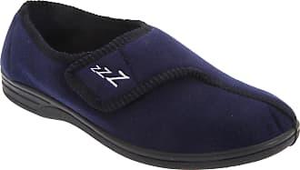 Zedzzz Mens Connor Touch Fastening Velour Slippers (11 UK) (Navy Blue)