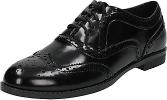 Spot On Ladies Casual Brogue Style Shoes - Black Patent - Size 5 UK / 38 EU