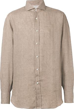 Brunello Cucinelli Camisa com colarinho pontiagudo - Marrom