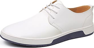 TOMWELL Mens Moccasins Formal Informal Business Leather Shoes Party Casual Boots Loafers Fashion Breathable Lace Up Flats B White UK 9.5