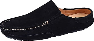 Jamron Mens Comfortable Suede Carpet Slippers Mules Driving Loafers Moccasins Black SN19058 UK10