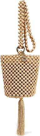Rosantica Lucy Tasseled Beaded Bucket Bag - Beige