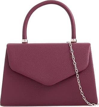 LeahWard Womens Faux Leather Clutch Bag Top Handle Wedding Handbags (Burgundy)