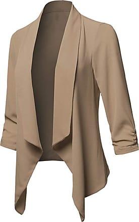 FNKDOR Women Crop Blazer Jacket Suit Slim Fit Casual Business Evening Lapel Long Sleeve Coat (Khaki,M)