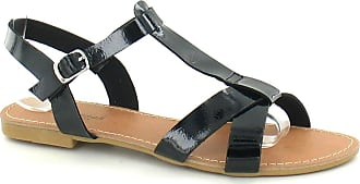 Spot On Ladies Savannah Sandals Black Patent Size 3