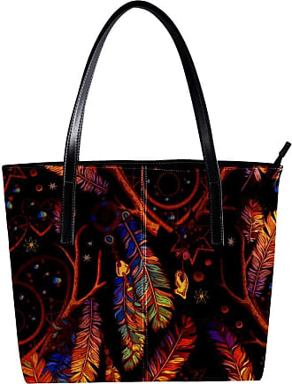 Nananma Womens Bag Shoulder Tote handbag with Dream Catcher With Sacred And Hearts Feathers Print Zipper Purse PU Leather Top-handle Zip Bags