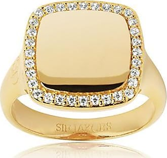 Sif Jakobs Jewellery Ring Follina Quadrato - 18k gold plated with white zirconia