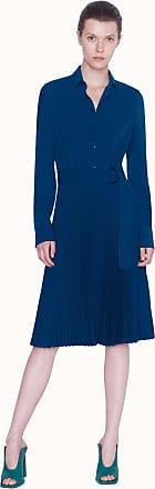 Akris Maxi Dress Plisée in Lasercut with Front Button Closure including Belt