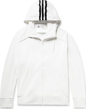 Yohji Yamamoto Logo-print Loopback Cotton-jersey Zip-up Hoodie - White