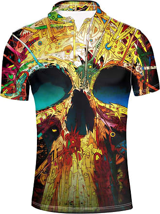 Hugs Idea Mens Jersey Sport Shirt Graffiti Skull Print Retro T Shirt Button Down Summer Short Sleeve
