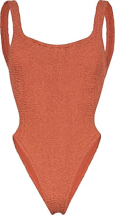 Hunza G Isolde Domino seersucker swimsuit - Marrom